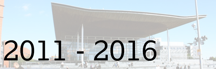 Picture of the Senedd exterior, with dates 2011-2016 written across. This is headline image for Fourth Assembly events page