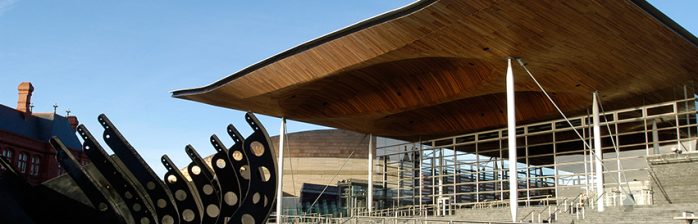 Photo of front of Senedd building
