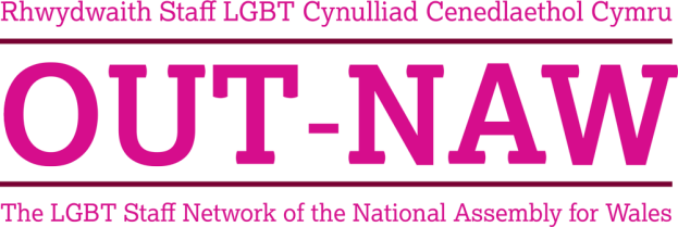 Logo for OUT-NAW, the Assembly's LGBT workplace network